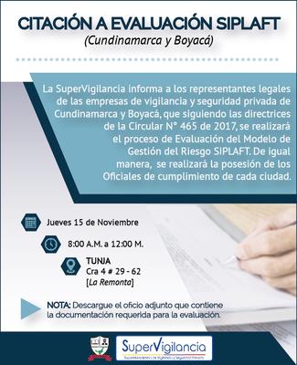 Citación a Evaluación de implementación del Modelo de Gestión de Riesgos LA/FT para servicios de Cundinamarca y Boyacá - Tunja -